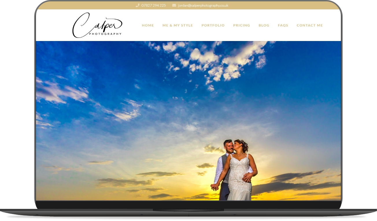 calper photography website mockup by athena media web design huddersfield