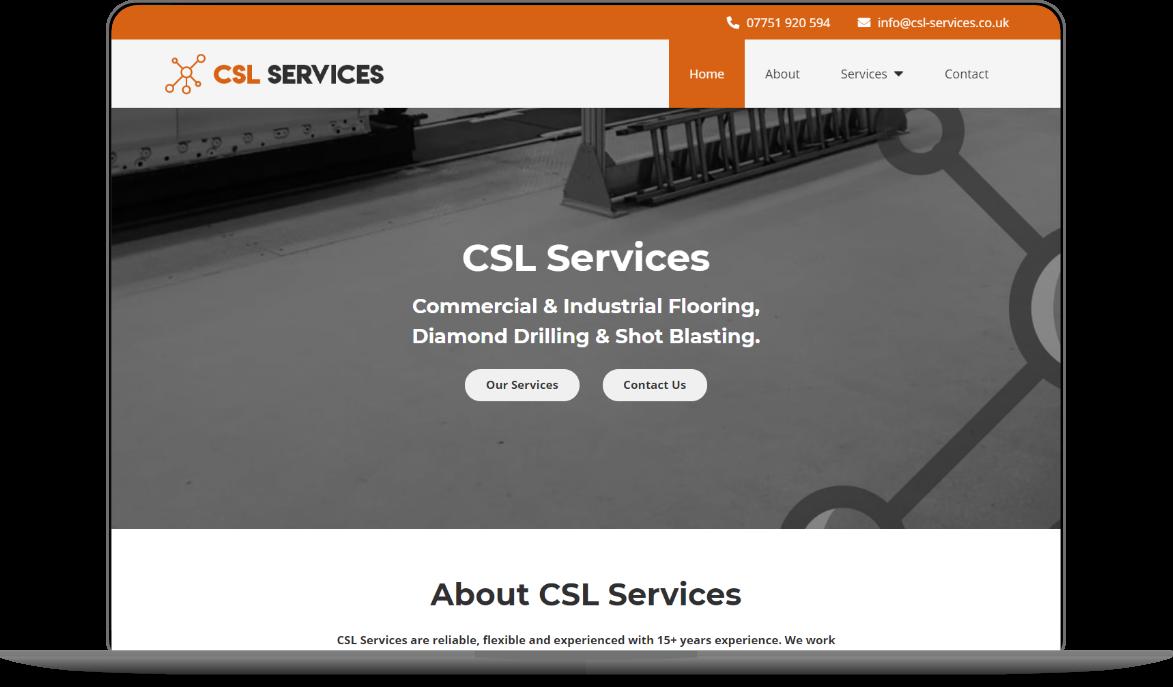 csl services website mockup by athena media web design huddersfield