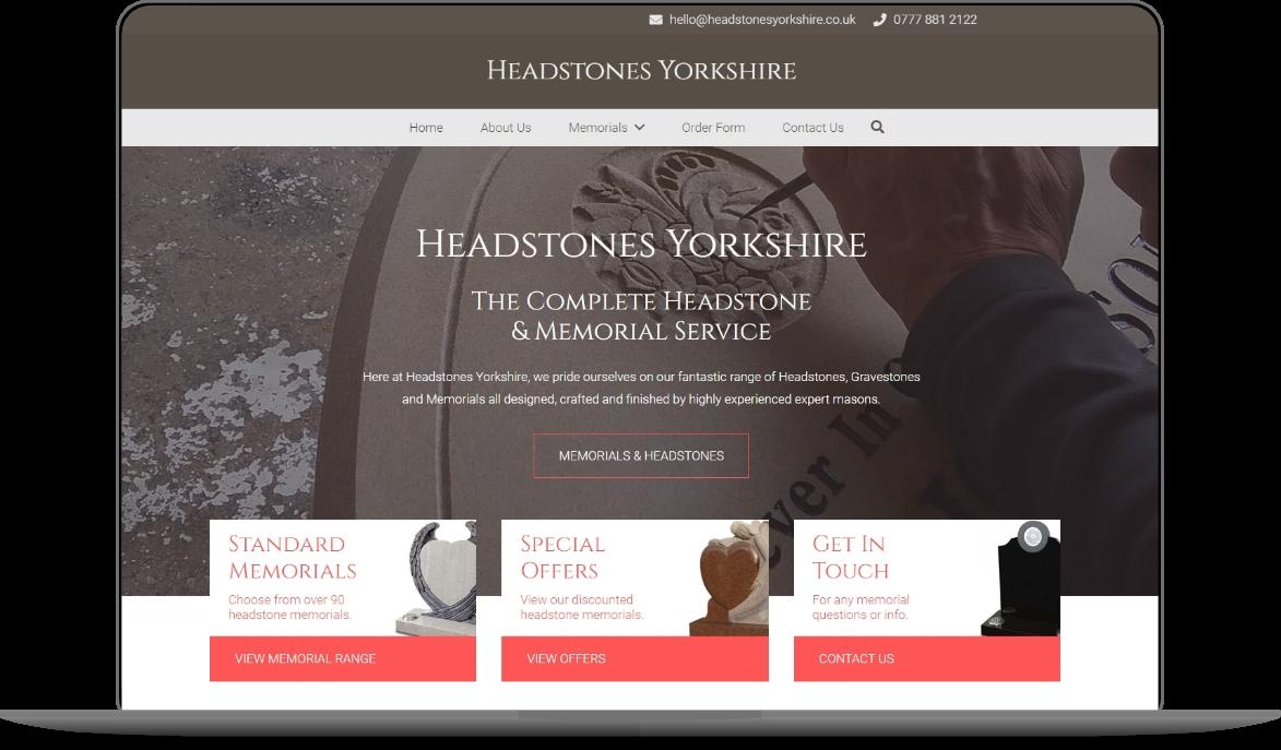 headstones yorkshire website mockup by athena media web design huddersfield