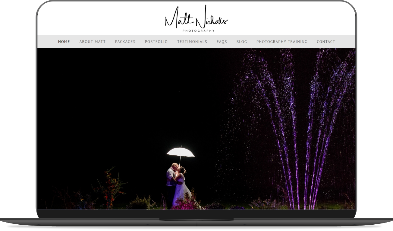 matt nicholls photography website mockup by athena media web design huddersfield