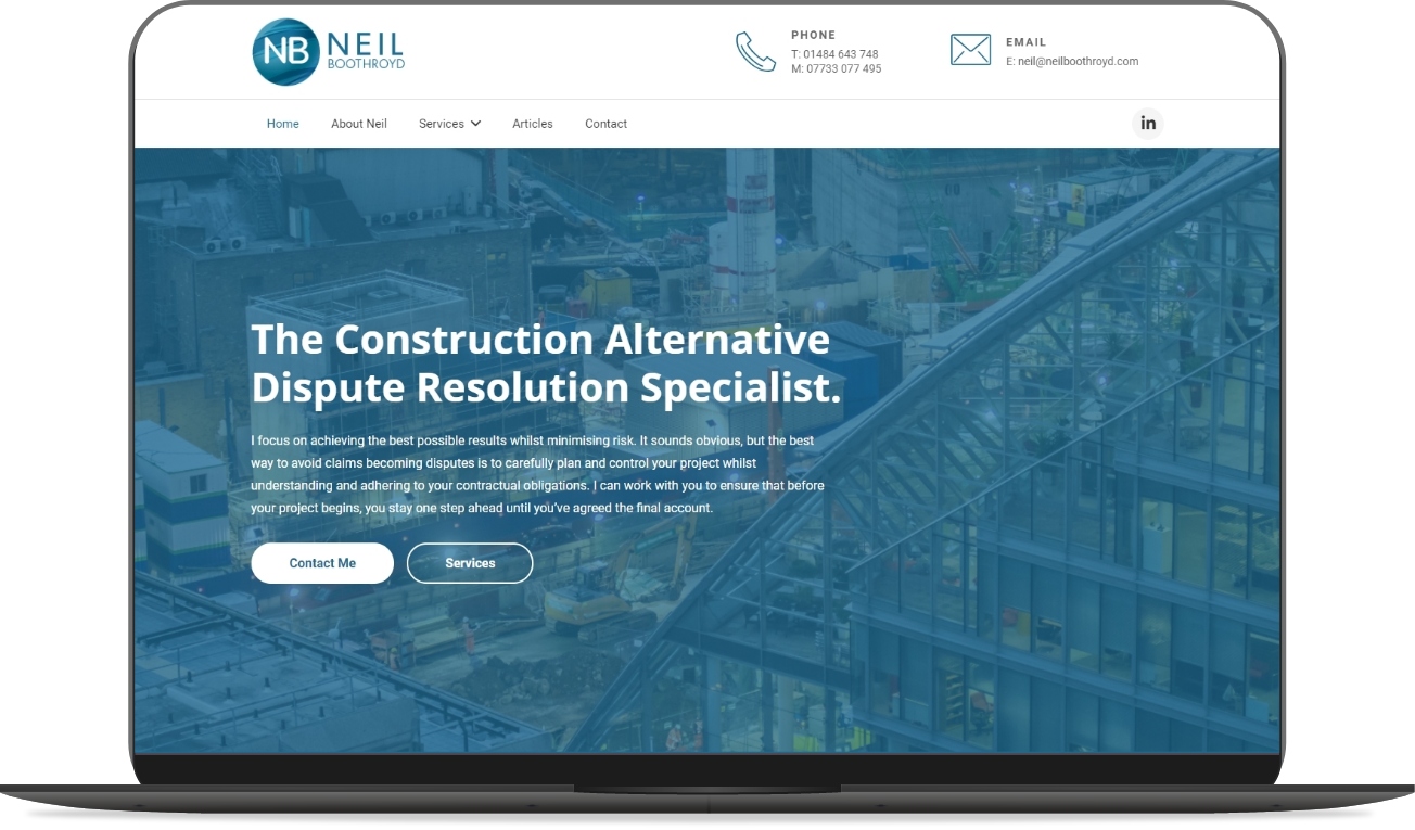 neil boothroyd website mockup by athena media web design huddersfield