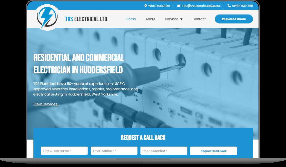 trs electrical website mockup by athena media web design huddersfield