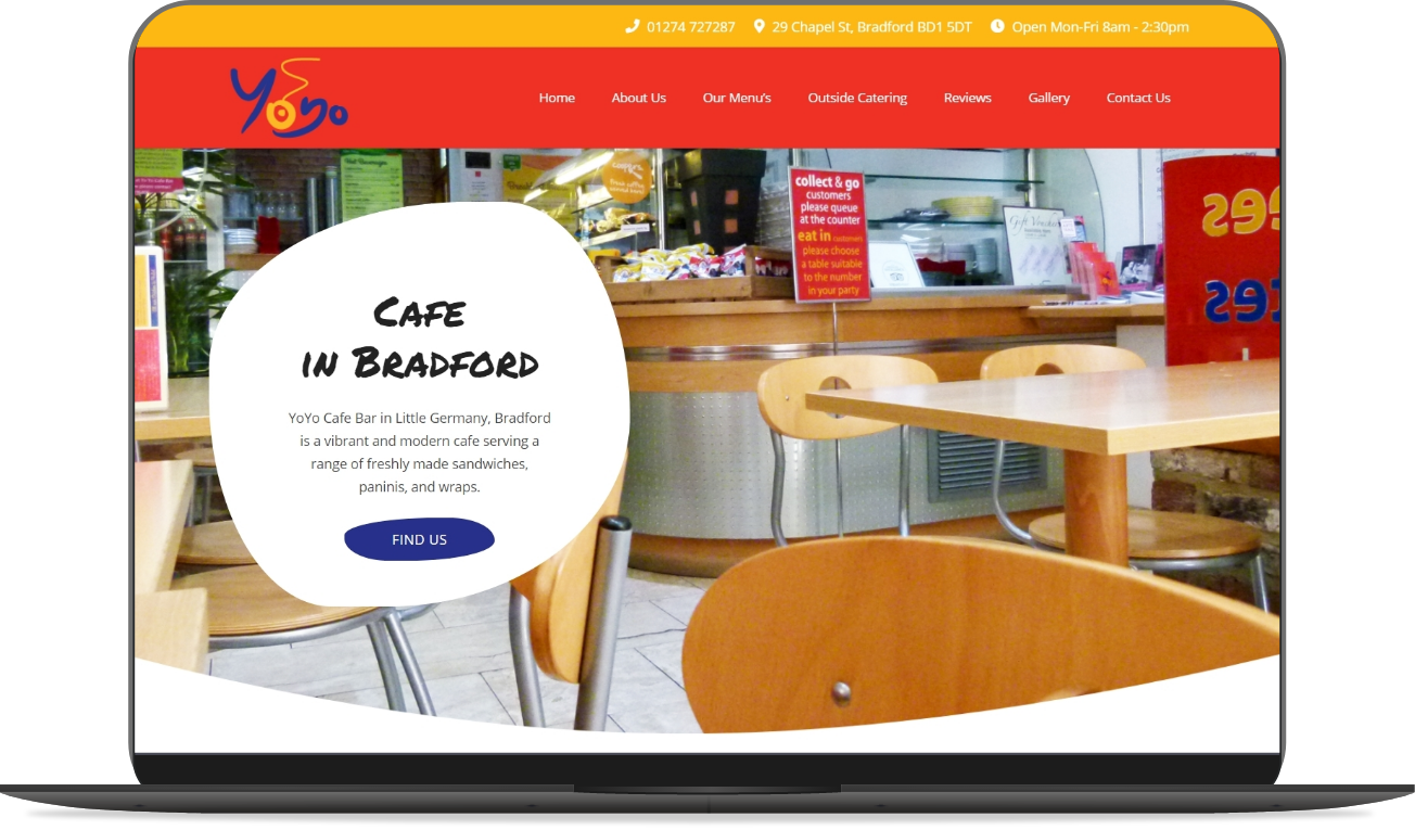yoyo cafe bar website mockup by athena media web design huddersfield