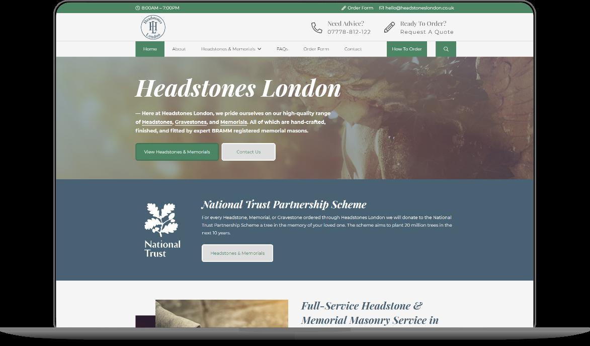 Headstones London Website Mockup